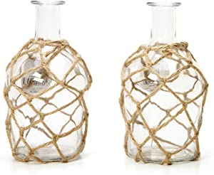 Hosley Set of 2 Glass Farm-House Vases, Rope Wrapped, Coastal Style. Ideal Gift for Floral Arrangements Spa, Aromatherapy, Nautical Votive Tea Light Candle Garden, Essential Oil Diffuser DWDOO O9