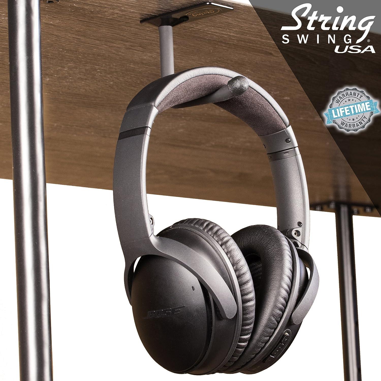 Adhesive Mount, Single Unit String Swing Headphone Hanger Hook Headset Holder Accessory Hook for Under Desk Or Table