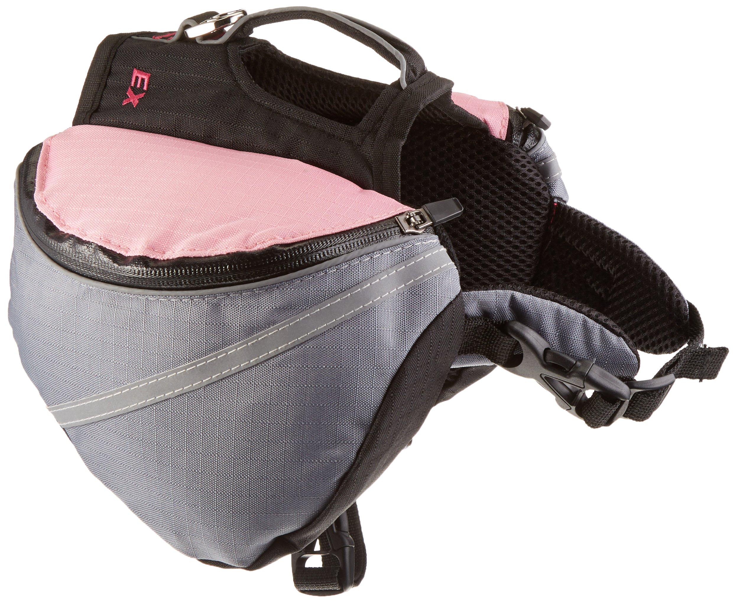 Doggles Dog Extreme Backpack, Gray/Pink, X-Small