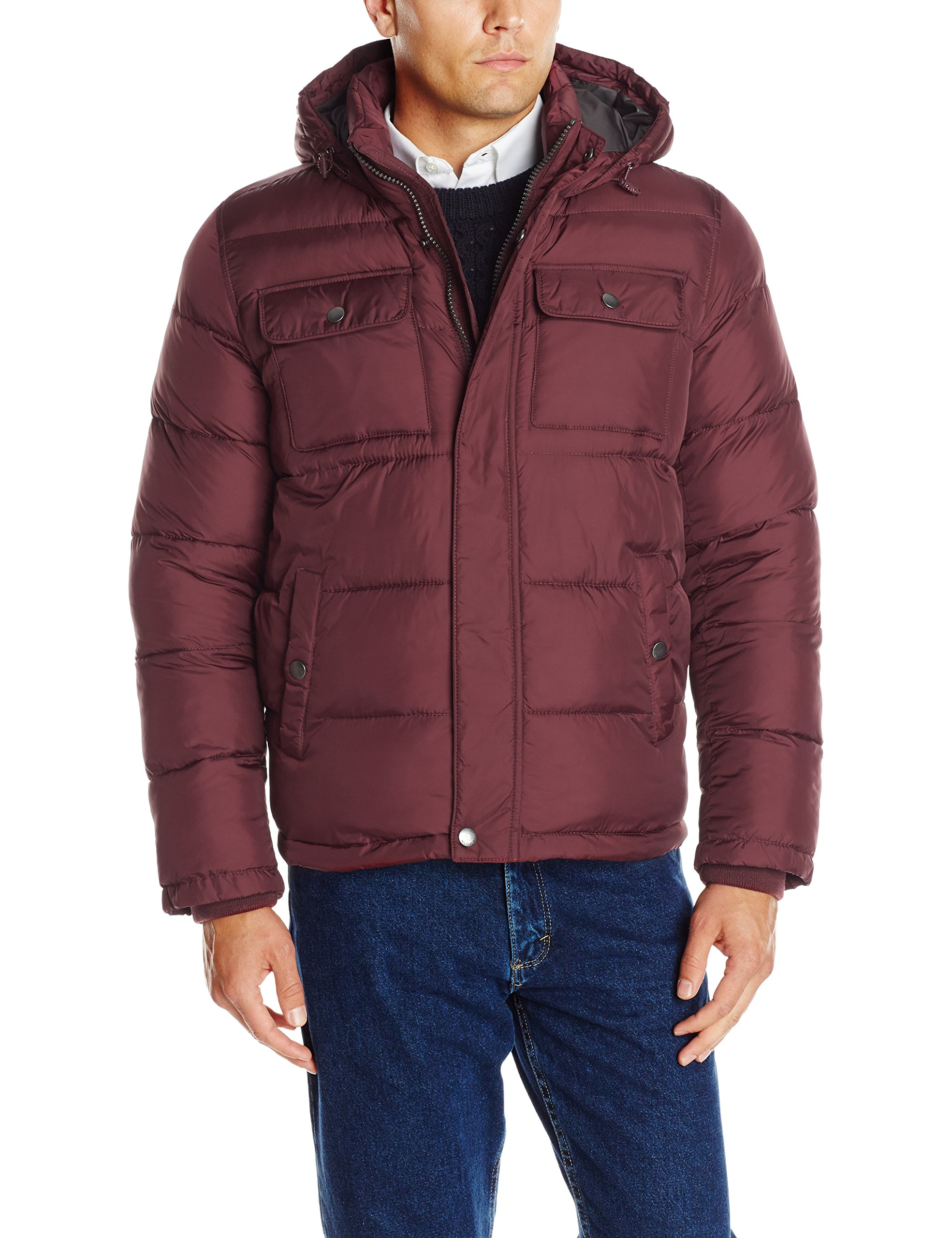 Tommy Hilfiger Men's Nylon Two Pocket Hoody Puffer, Burgundy, Large
