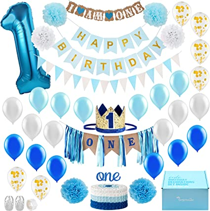 Magnificent Amazon Com Baby Boy 1St Birthday Decorations With Birthday Crown Funny Birthday Cards Online Inifofree Goldxyz