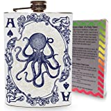 Octopus Ace of Spades Vintage Playing Card Stainless Steel 8oz Hip Flask Kraken Whiskey Vodka Flasks