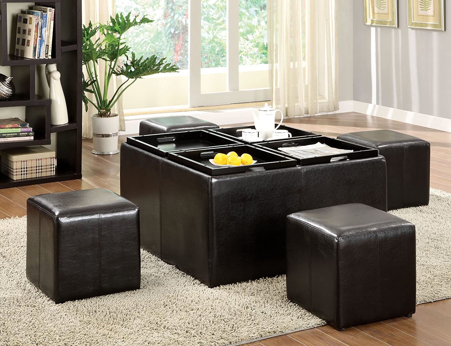Amazon furniture of america 5 piece cocktail ottoman table amazon furniture of america 5 piece cocktail ottoman table and stool set dark espresso kitchen dining geotapseo Gallery