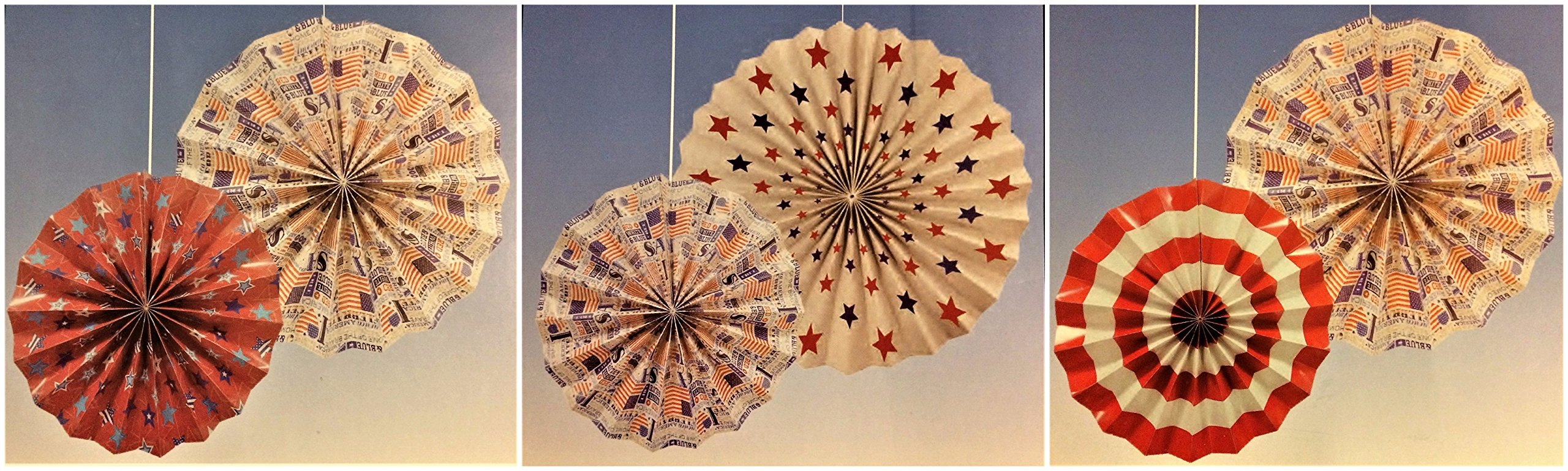 Patriotic Hanging Paper Fan Decorations, 14'' and 10'', 6-pc Set