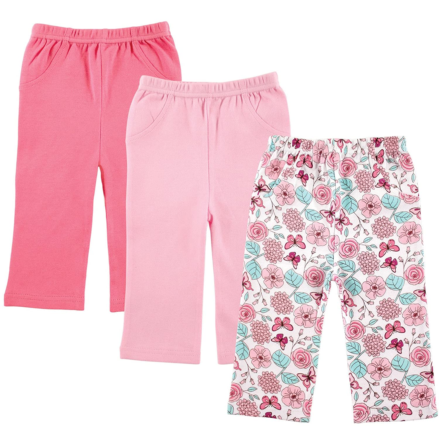 Amazon Luvable Friends 3 Pack Printed Pants Pink Flowers 6 9