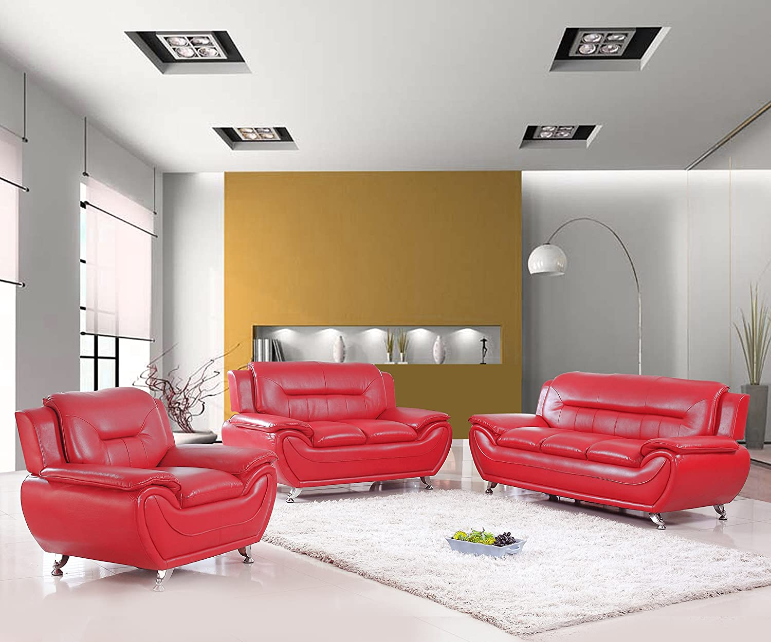 U s livings anya modern living room polyurethane leather sofa loveseat and chair set 3 piece red