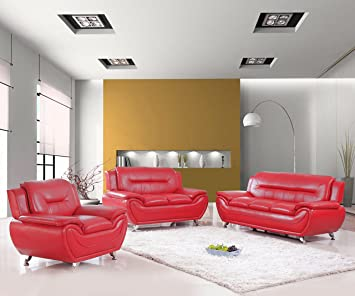 Us Livings Anya Modern Living Room Polyurethane Leather Sofa Loveseat And Chair Set 3 Piece Red