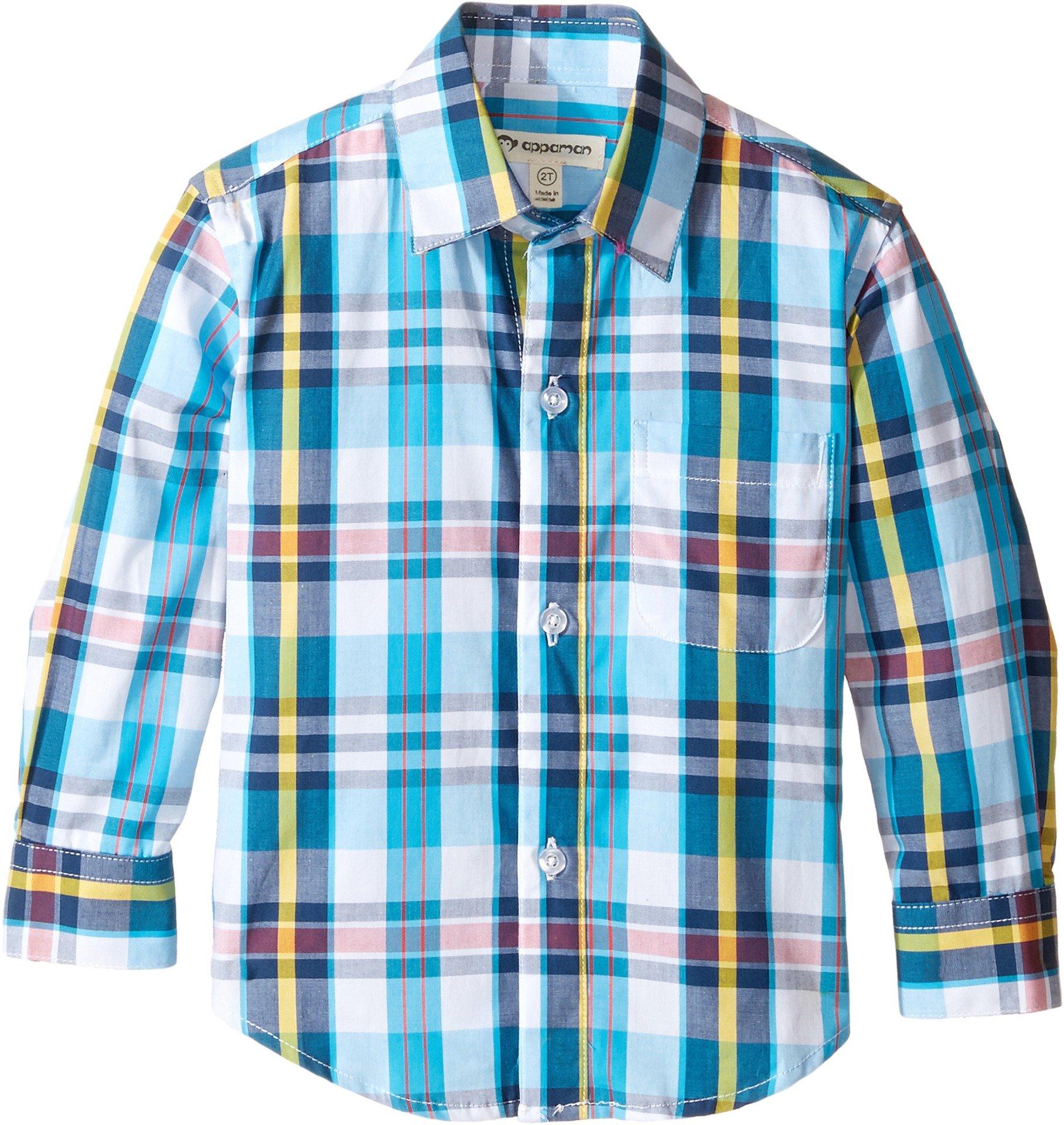 Appaman Boys' The Standard Shirt, Turquoise/Yellow Plaid, 2T