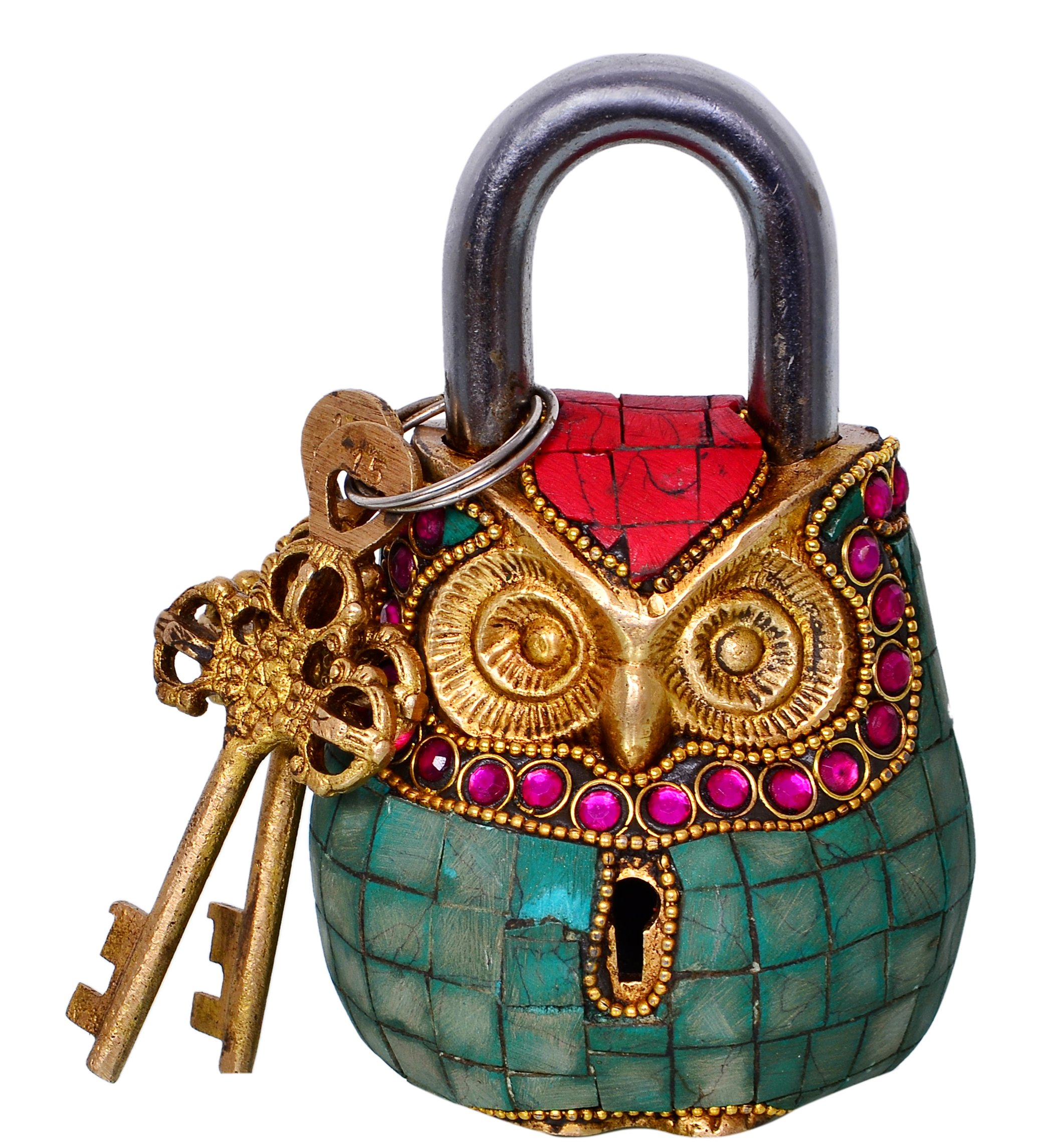 Purpledip Owl Shape Brass Lock Padlock: Handmade Antique Design With Colorful Gemstone Work; Unique Collectible Combination Of Style & Security (10684)