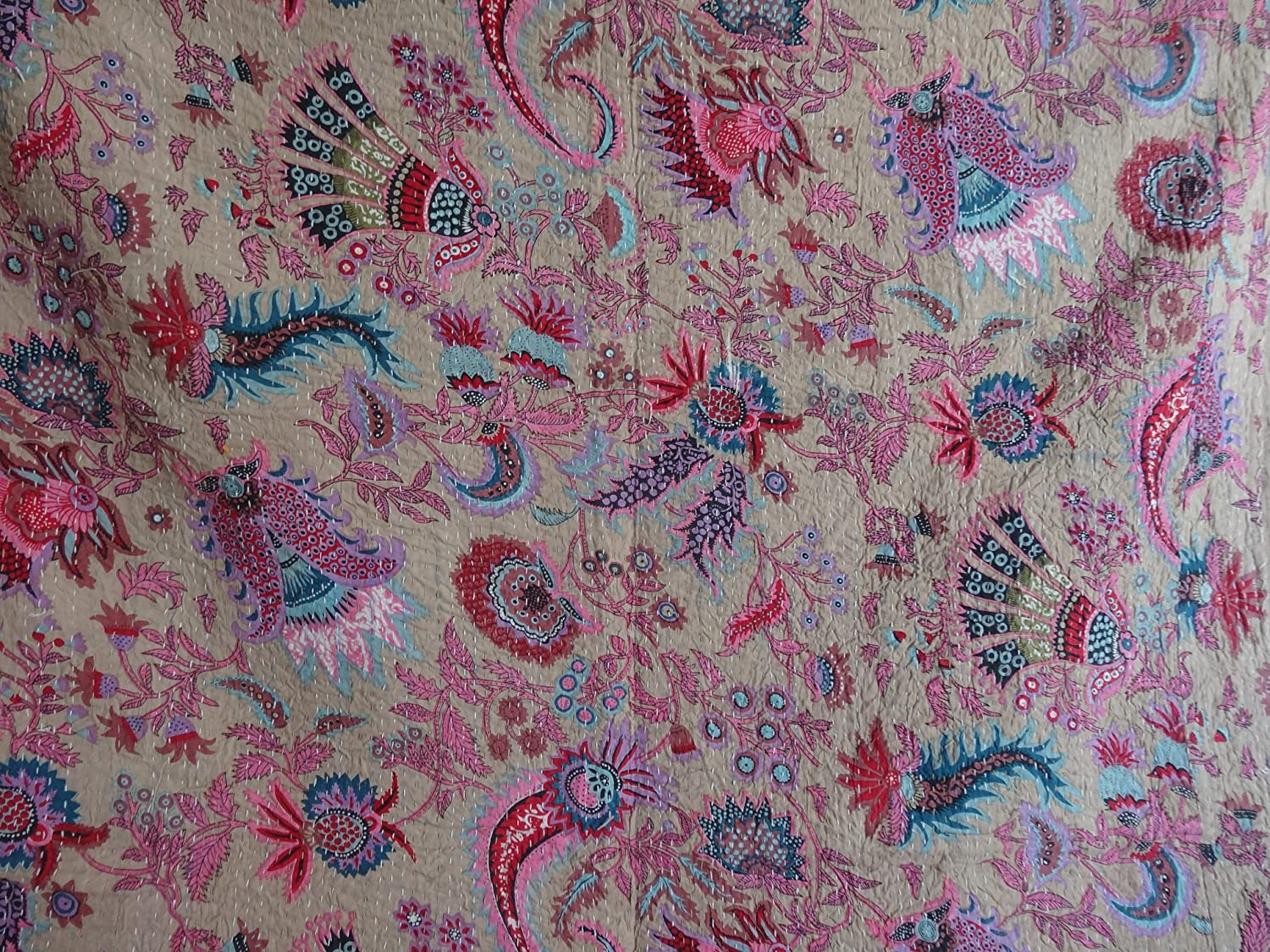 Kantha Blanket Bed Cover Tribal Asian Textiles Multicolor Paisley QUEEN Size Kantha Quilt Bohemian Bedding Kantha Size 90 Inch x 108 Inch 1115 King Kantha bedspread