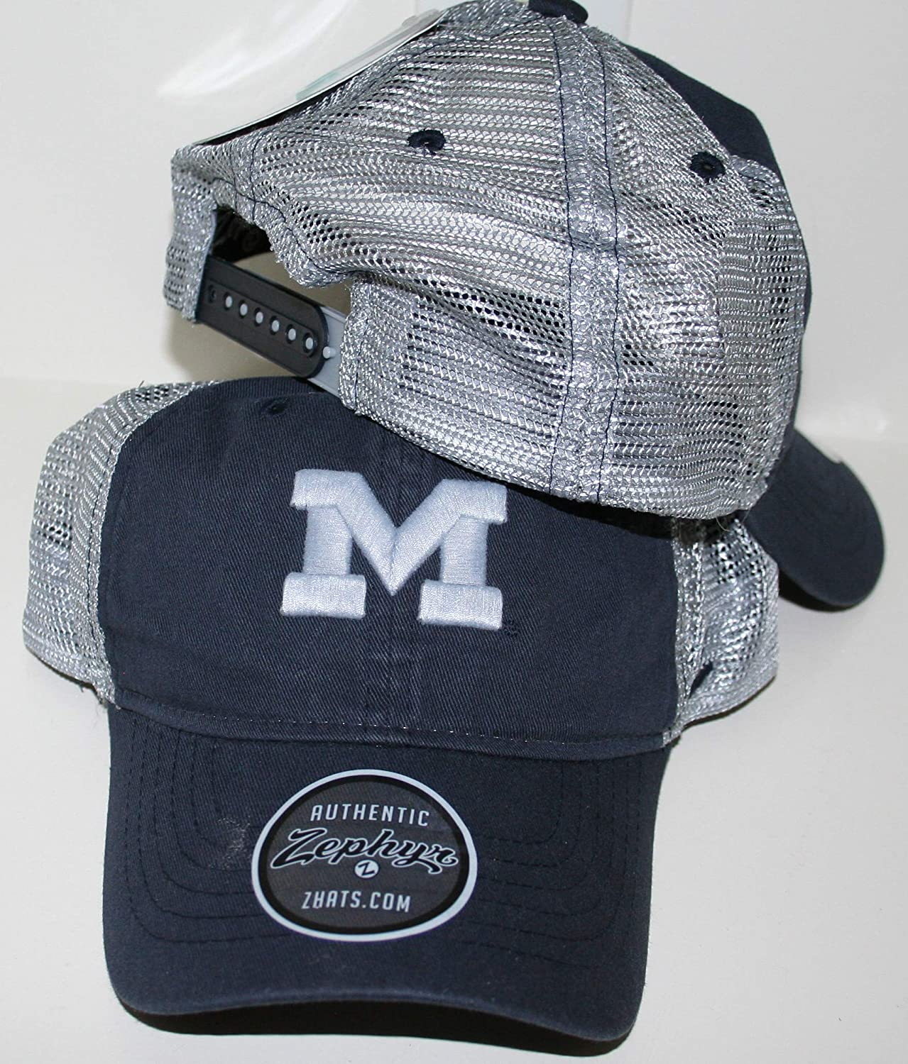 Zephyr University of Michigan Wolverines Top Dark Navy Blue Wash Cotton Nimbus Adult Mens//Womens//Youth Adjustable Baseball Mesh Trucker Hat//Cap