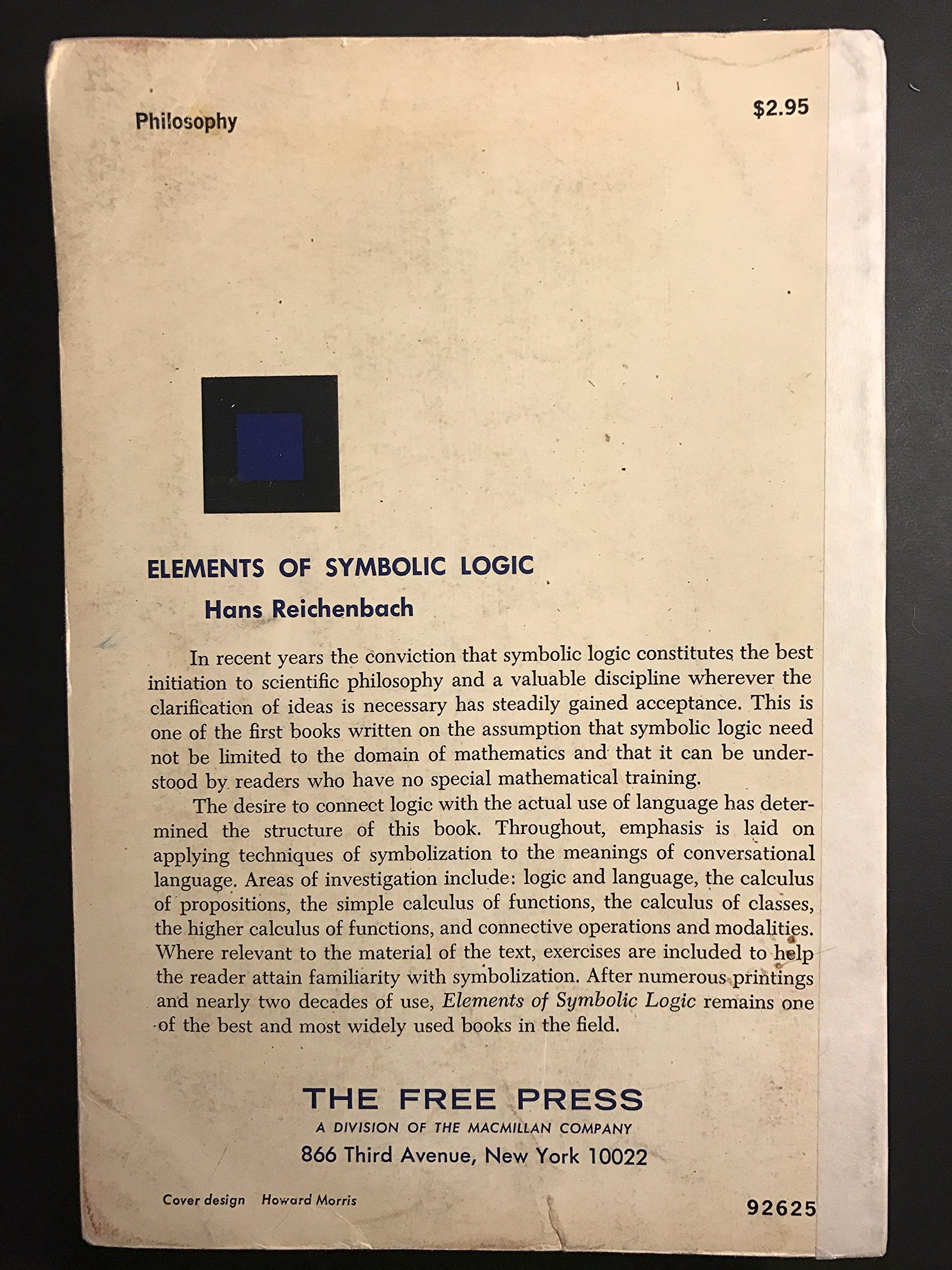 Elements Of Symbolic Logic Amazon Hans Reichenbach