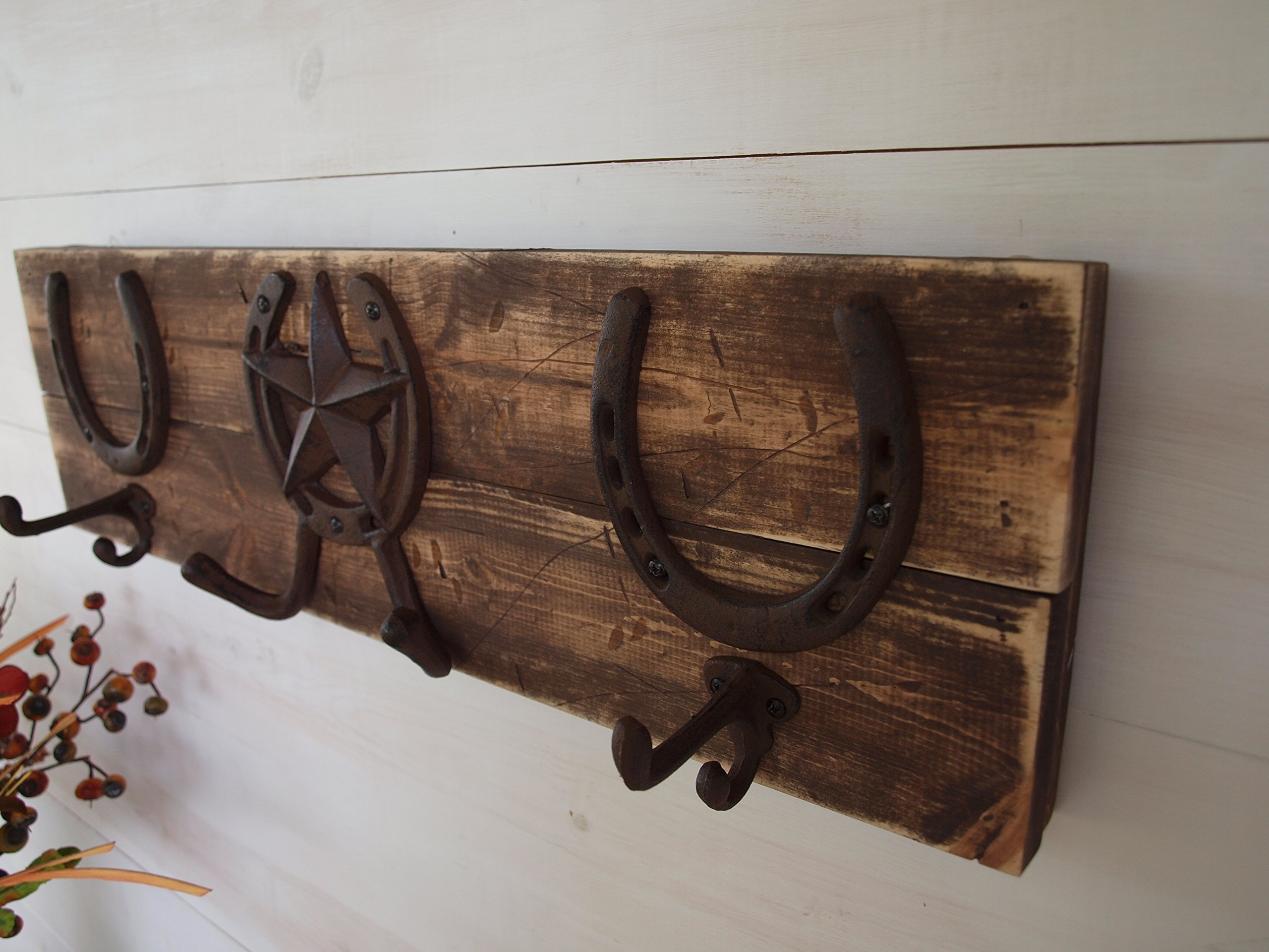 Handmade Distressed Wooden Wall Mount Coat Rack, Western Horseshoes Cast Iron Hooks Vintage