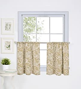 "Elrene Home Fashions 26865775297 Floral Rod Pocket Kitchen/Café Tier Window Curtain, Set of 2, 30"" x 24"", Linen"