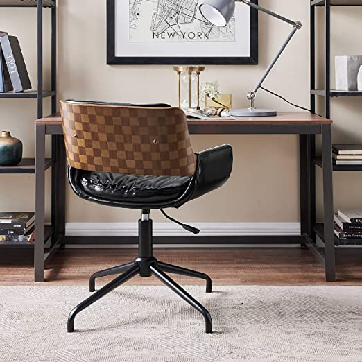 Amazon Com Volans Home Office Chair Mid Century Modern Bentwood Swivel Accent Office Desk Chair With Leather Upholstery Adjustable Height Task Chair With Armrest Black Kitchen Dining