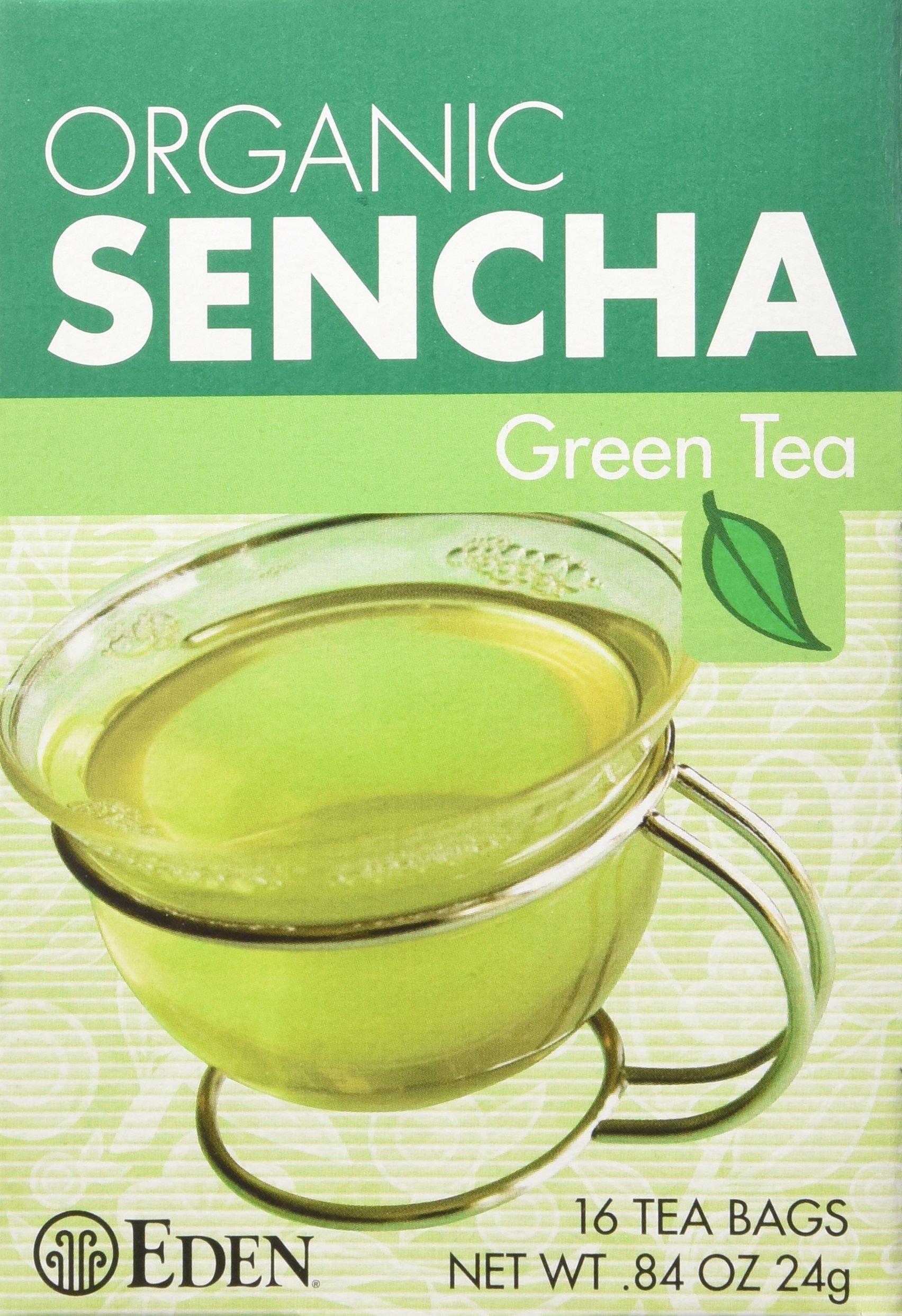 Eden Organic Green Tea, Sencha, Tea Bags, 16-Count Boxes (Pack of 12) by Eden