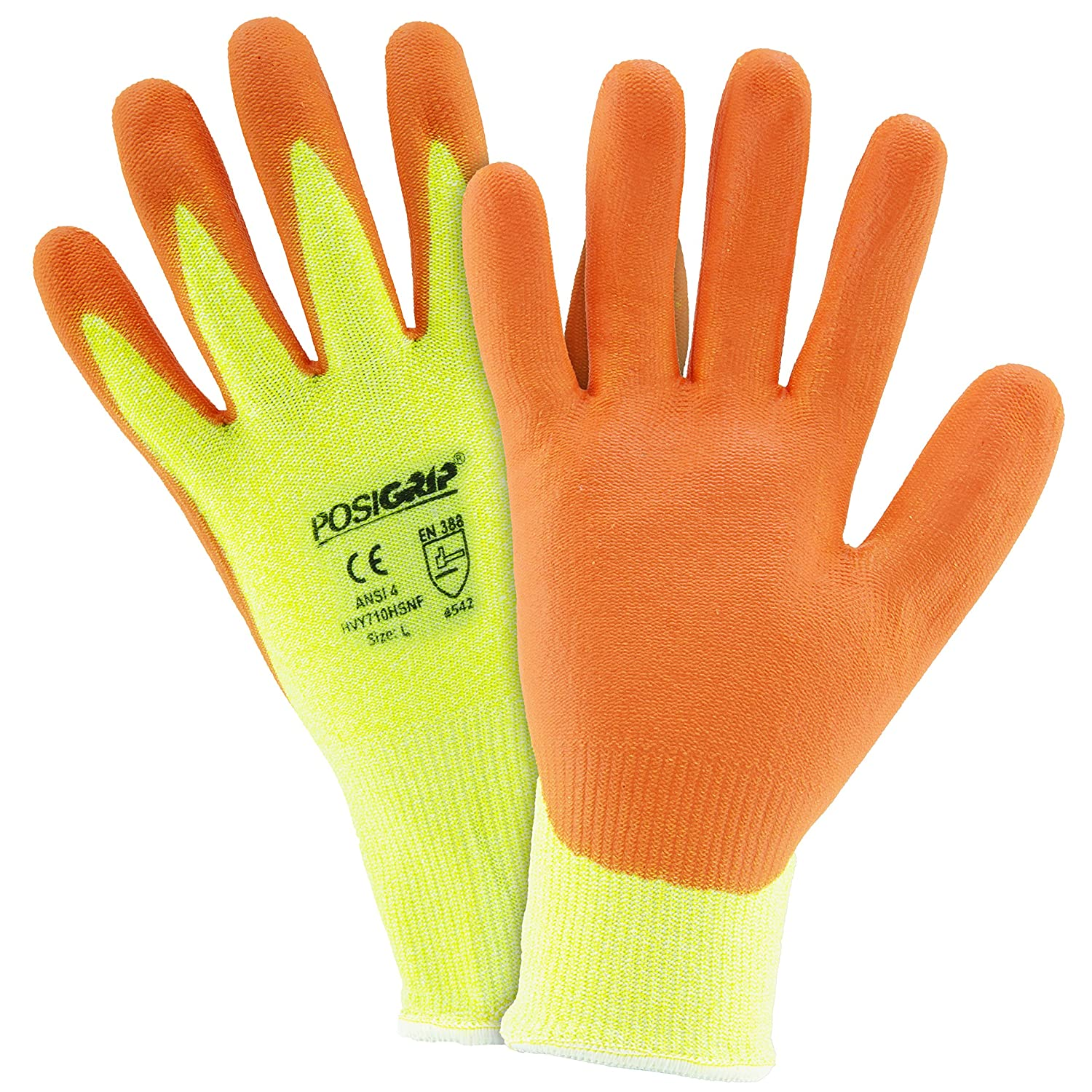 West Chester HVY710HSNF M HPPE Orange Foam Nitrile Palm Coated Gloves Medium Hi Vis Yellow Pack of 12
