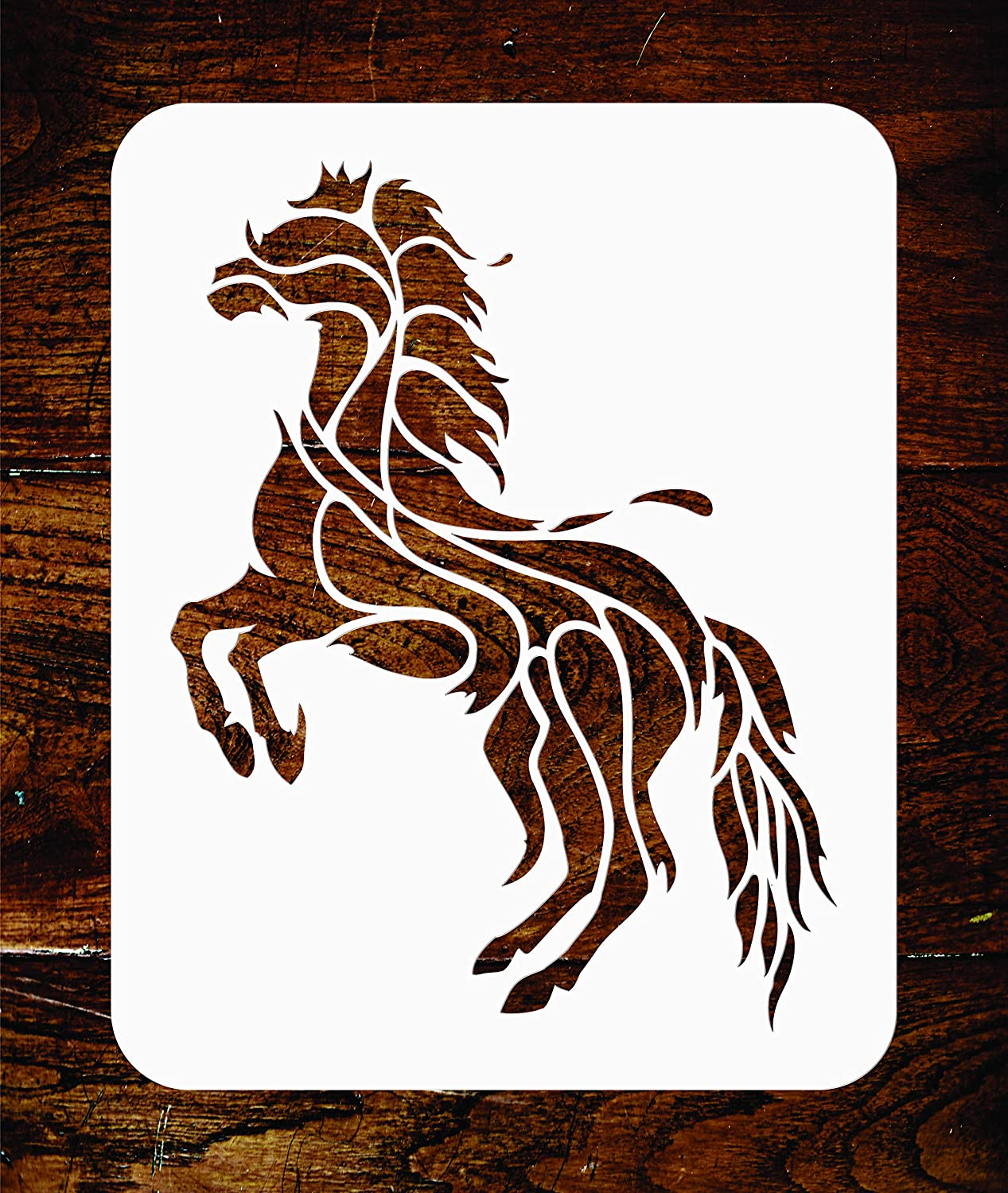 Horse Stencil Use on Paper Projects Scrapbook Journal Walls Floors Fabric Furniture Glass Wood etc. Reusable Geometric Decor Stylized Pet Animal Wall Stencil Template 11.5 x 15 cm