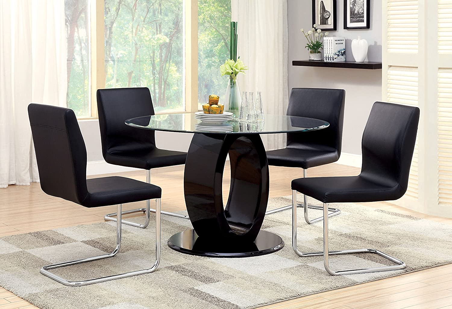 Amazon.com   Furniture Of America Quezon Round Glass Top Pedestal Dining  Table, Black   Tables