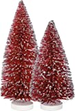 Primitives By Kathy 6 Inches and 9 Inches Tall Bristle Glitter Wire Sisal Set Of 2 Christmas Trees