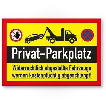 Privado Aparcamiento parkverbot - Letrero (Amarillo, 30 x 20 ...