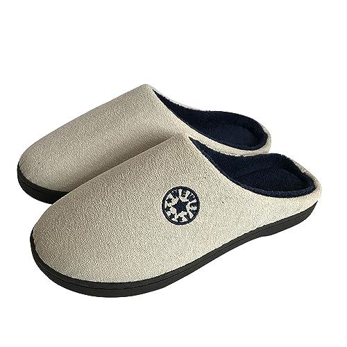 ... Hombre Invierno Calido Zapatillas Cómodas Suave Flat Slipper Zapatillas de casa de Mujer Ultraligero cómodo y Antideslizante Zapatilla de Estar por casa ...