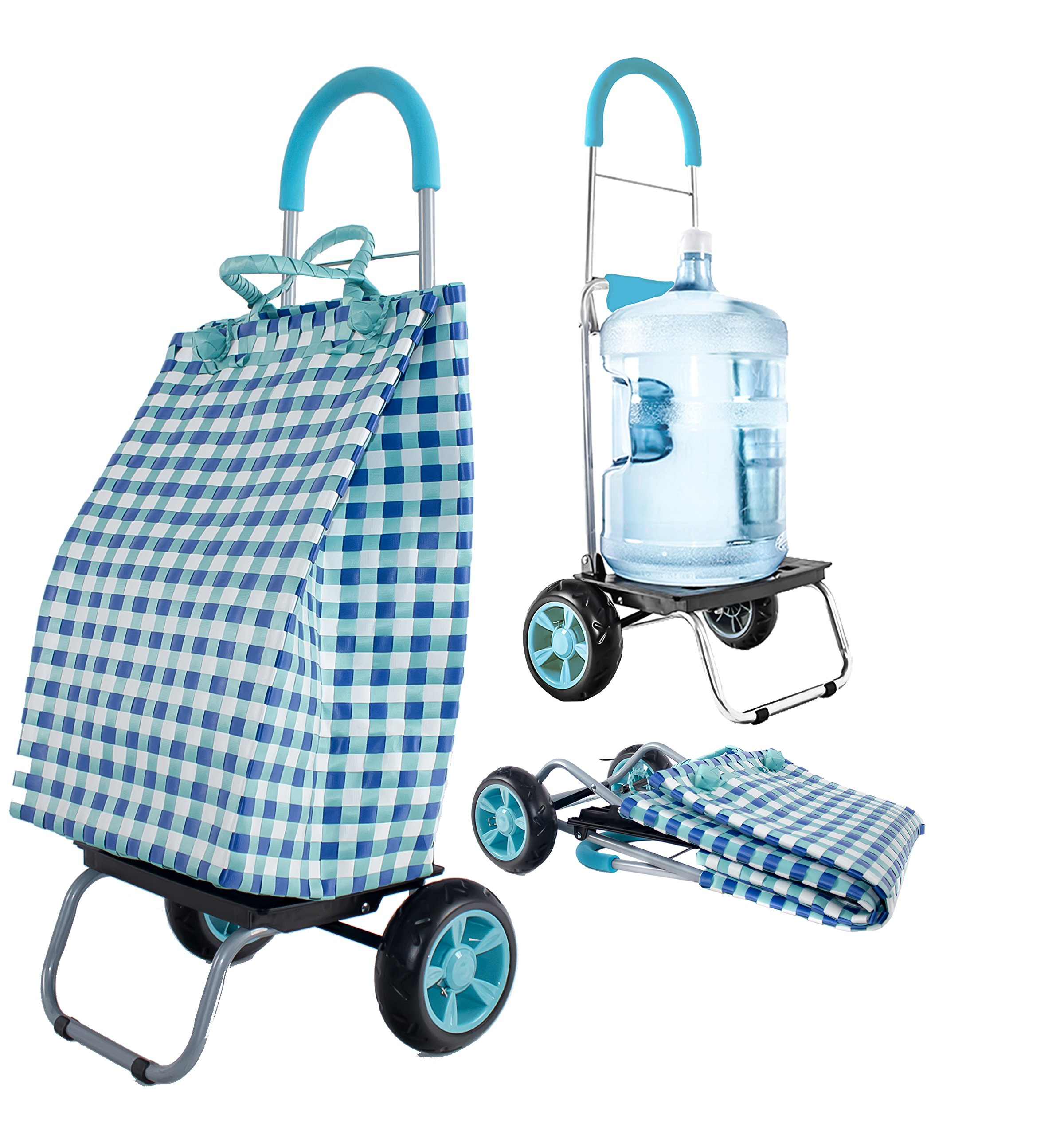 dbest products Trolley Dolly Basket Weave Tote, Blue Shopping Grocery Foldable Cart Picnic Beach by dbest products (Image #1)