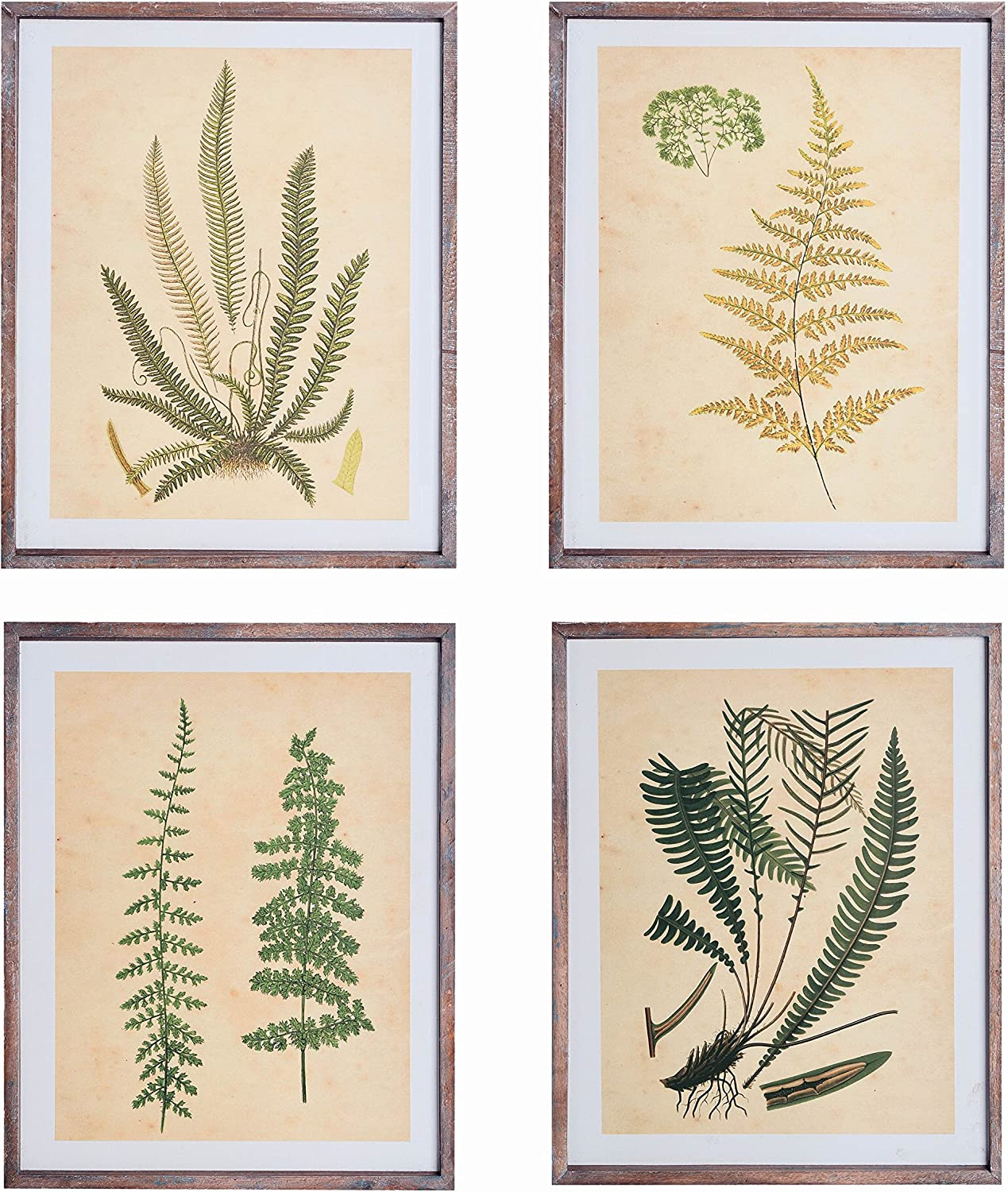 "NIKKY HOME 11"" x 14"" Vintage Wood Framed Botanical Wall Art Prints Set of 4"