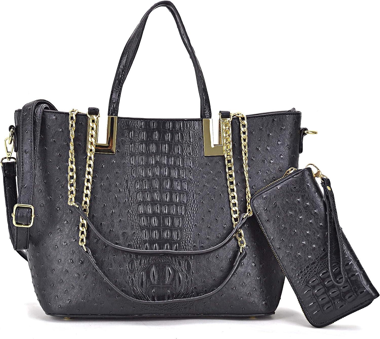 Women's Fashion Ostrich Tote Bag Top Handle Shoulder Bag Chain Strap Bag W/Matching Wallet