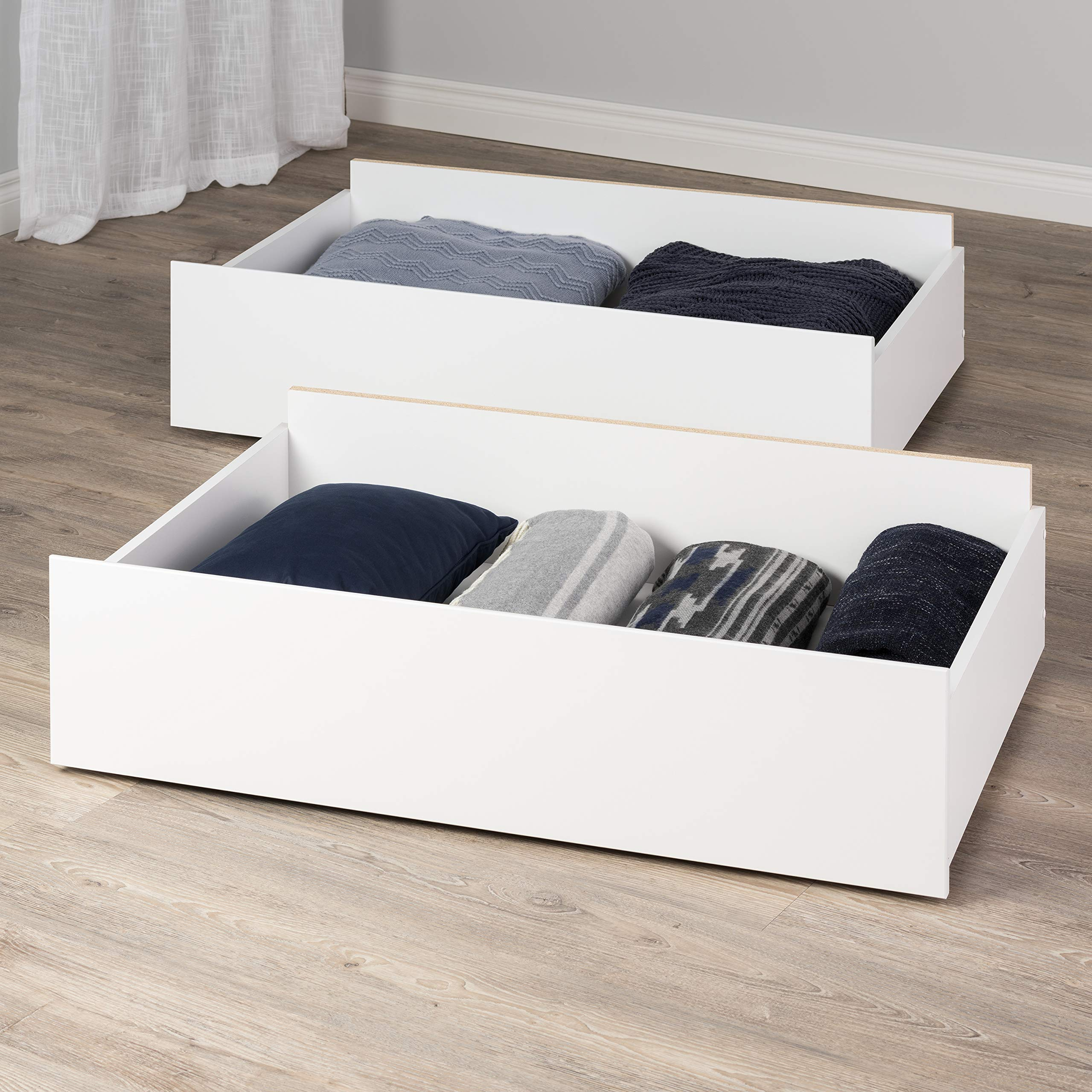Prepac WBQK-1303-1 Select, White Storage Drawers on Wheels - Set of 2 Queen/King by Prepac