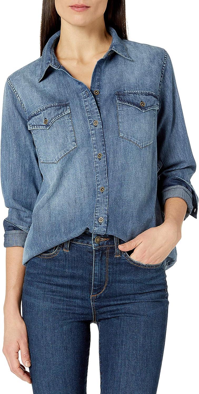 Marca Amazon - Goodthreads Denim Shirt - novelty-t-shirts Mujer