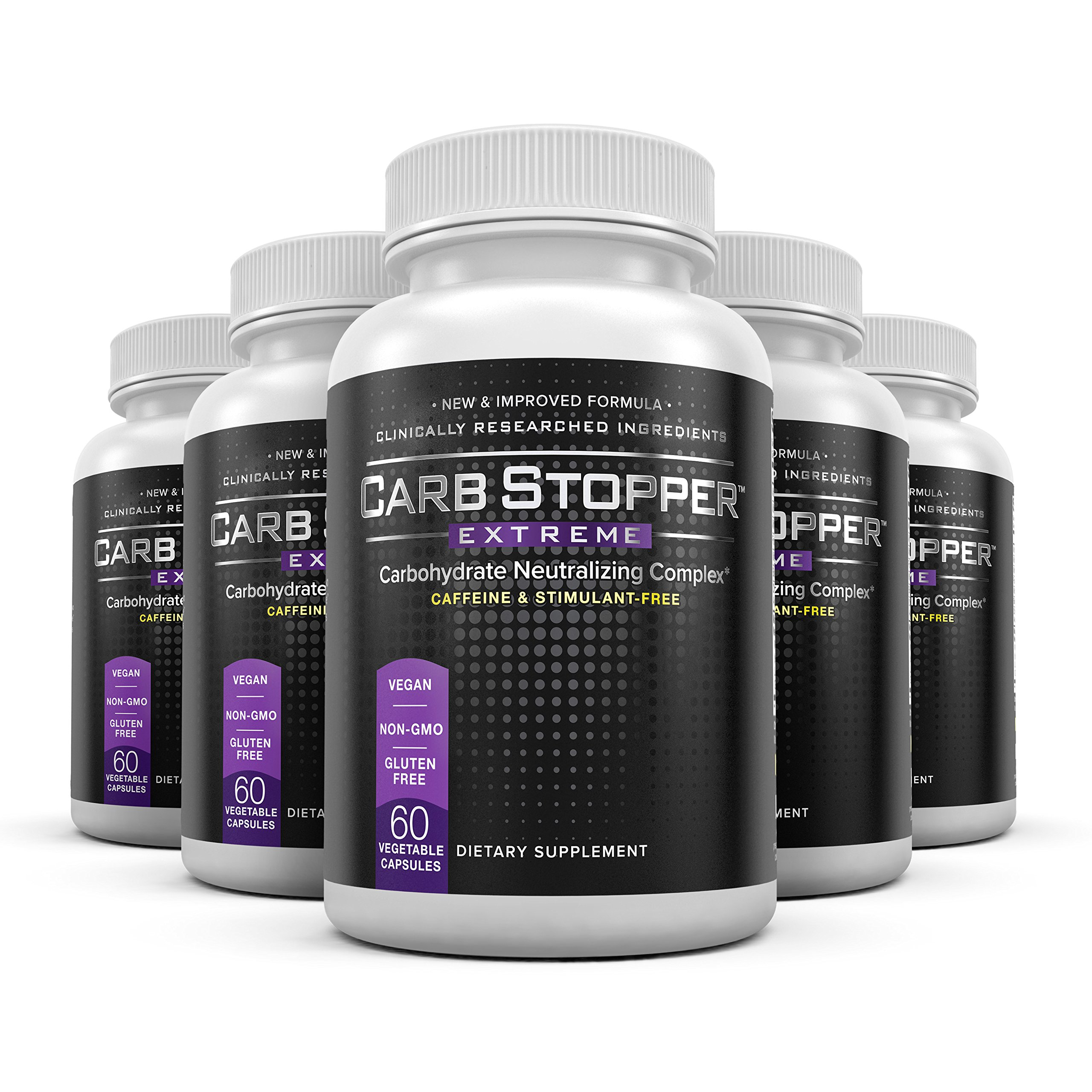 Carb Stopper Extreme (5 Bottles) - Maximum Strength, All-Natural Carbohydrate and Starch Blocker Weight Loss Supplement | Absorb Fat with White Kidney Bean Extract Diet Pills, 60 Capsules Per Bottle