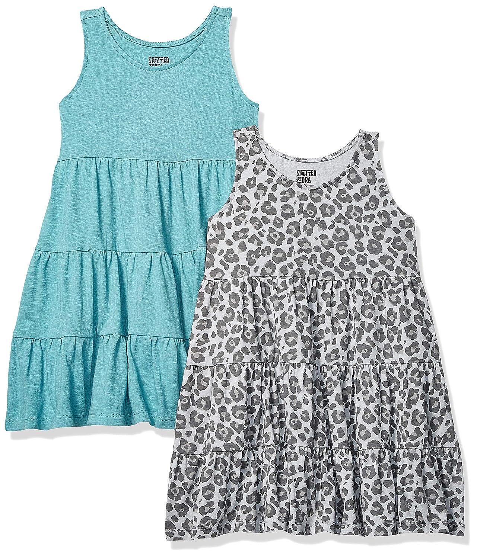 Spotted Zebra 2-Pack Knit Sleeveless Tiered Dresses Ni/ñas