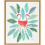 Kate and Laurel - Sylvie Pink Flamingos in Watercolor Horizontal Framed Canvas Wall Art by Cat Coquillette, Natural 18 x 24