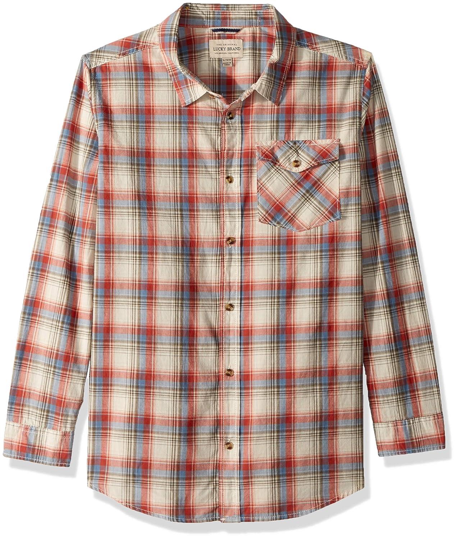 Lucky Brand Boys Short Sleeve Plaid Shirt