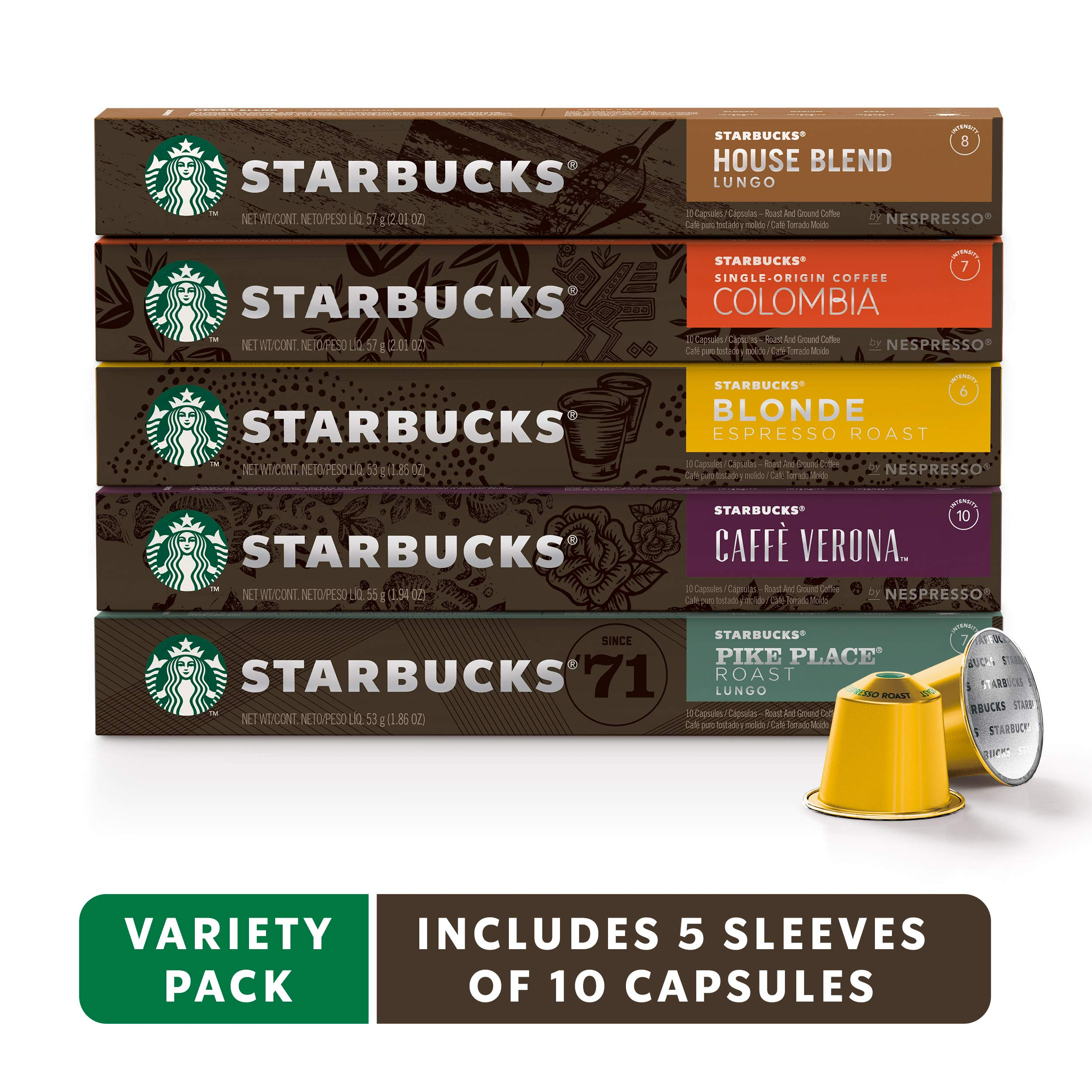 Starbucks by Nespresso, Favorites Variety Pack (50-count single serve capsules, 10 of each flavor, compatible with Nespresso Original Line System) by Starbucks by Nespresso
