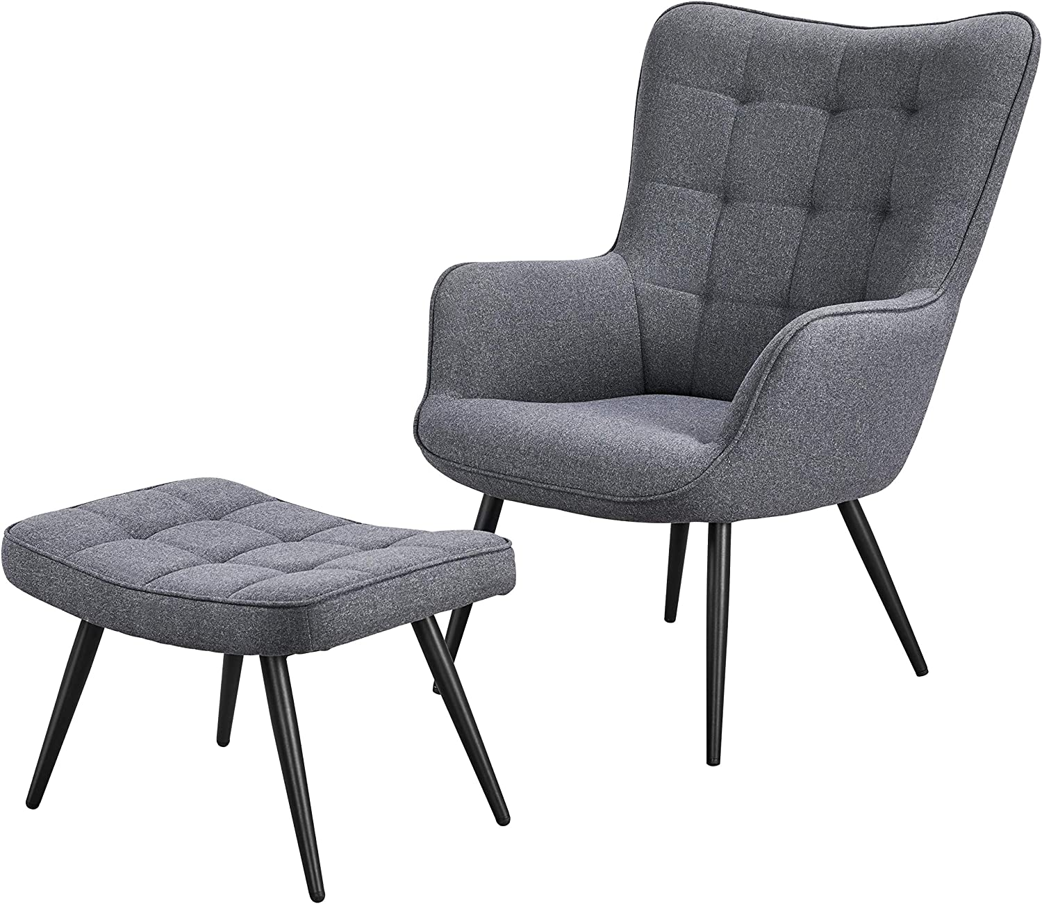 Amazon Com Yaheetech Lounge Chair Ottoman Modern Chaise Lounge Armchair With Footstool Lounge Reading Chair With Footrest Linen Grey Furniture Decor