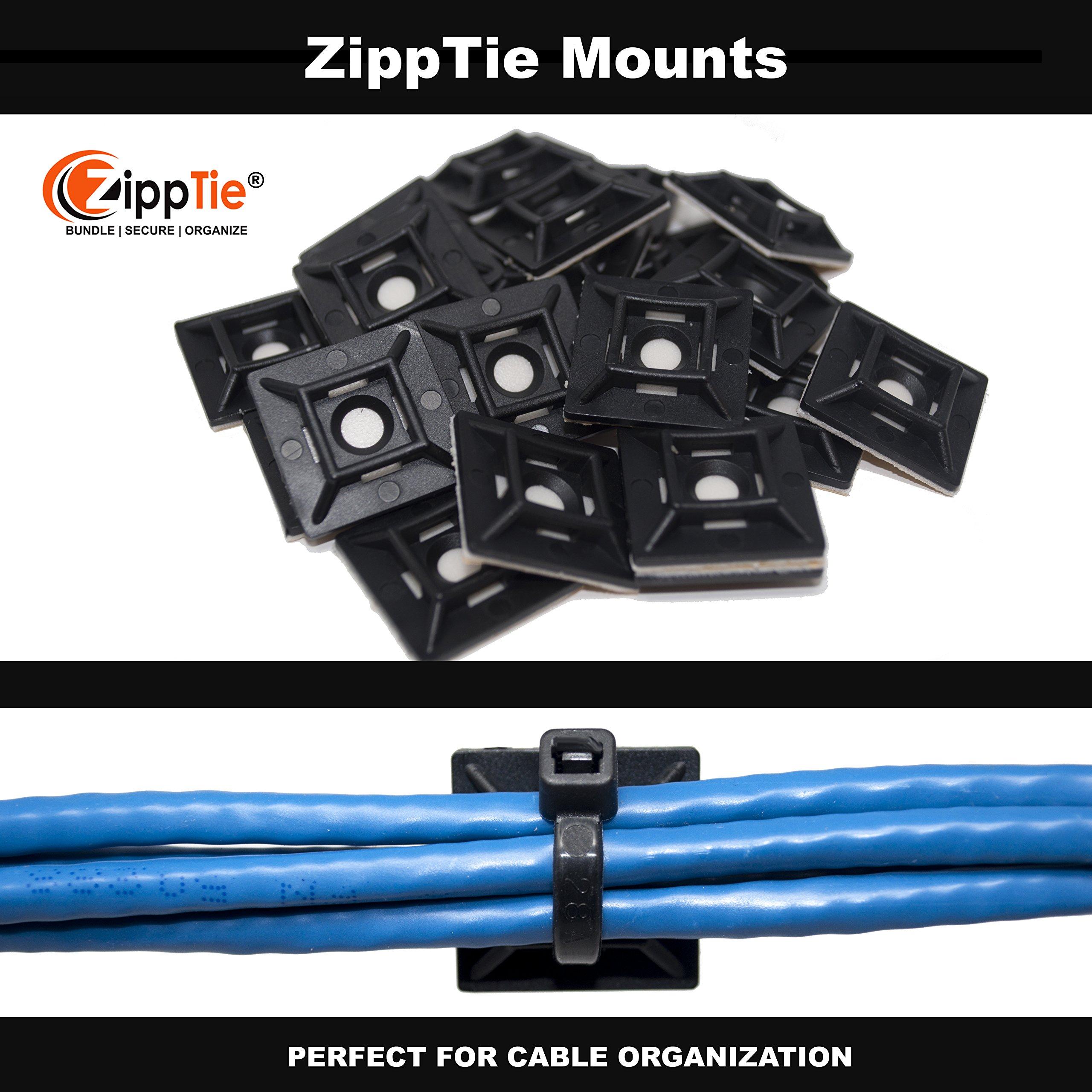 Cable Ties by ZippTie | 225pc Cable Management Kit 6'', 8'', 12'' White & UV Black Heavy Duty (Zip Ties) 50lb & 75lb | Includes 20 Adhesive Base Mounts and 5 Reusable ZippCro Wraps by ZippTie Bundle | Secure | Organize (Image #7)