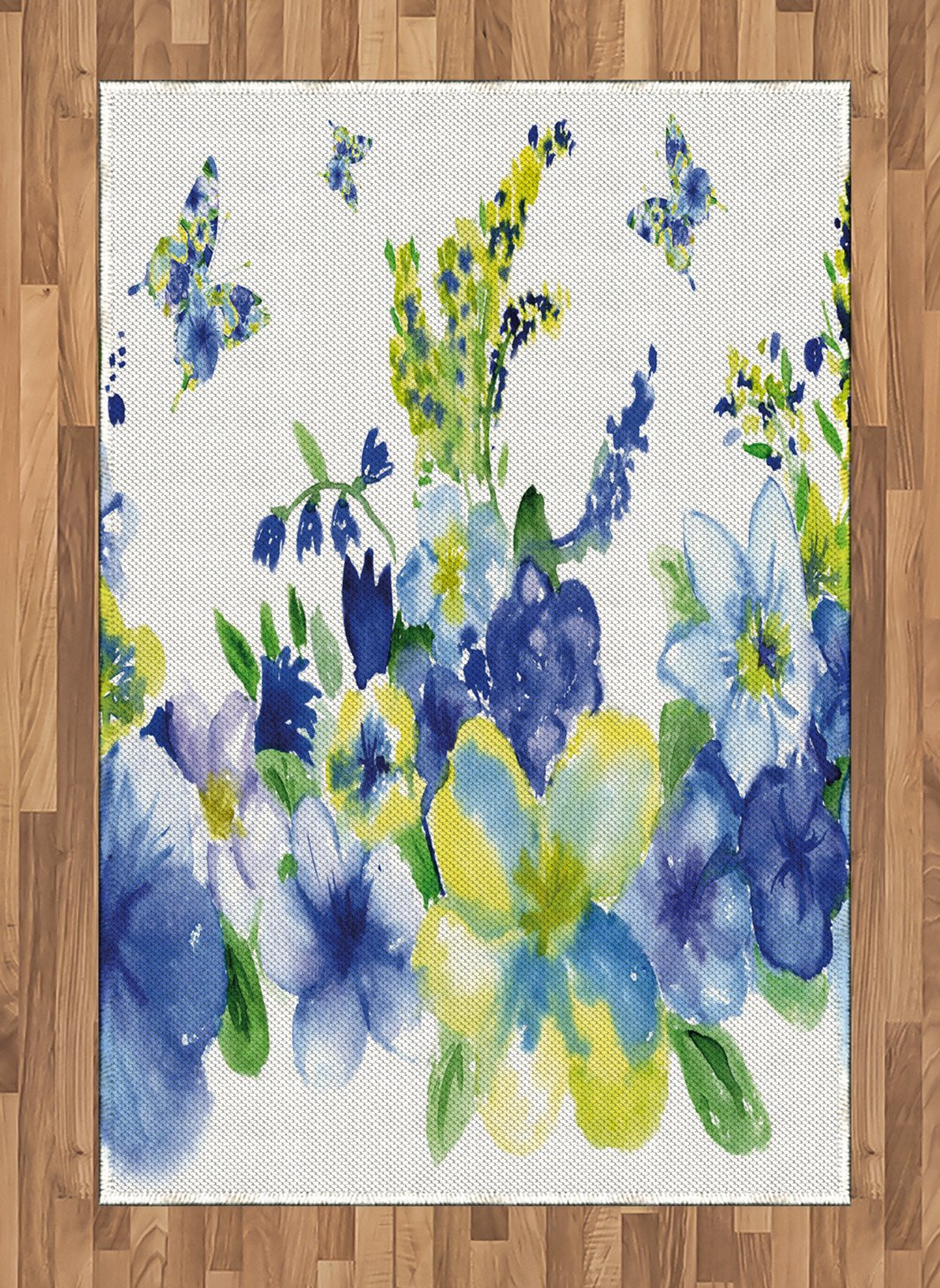 Ambesonne Yellow and Blue Area Rug, Spring Flower Watercolor Flourishing Vibrant Blooms Design, Flat Woven Accent Rug for Living Room Bedroom Dining Room, 4' X 5.7', Royal Blue by Ambesonne