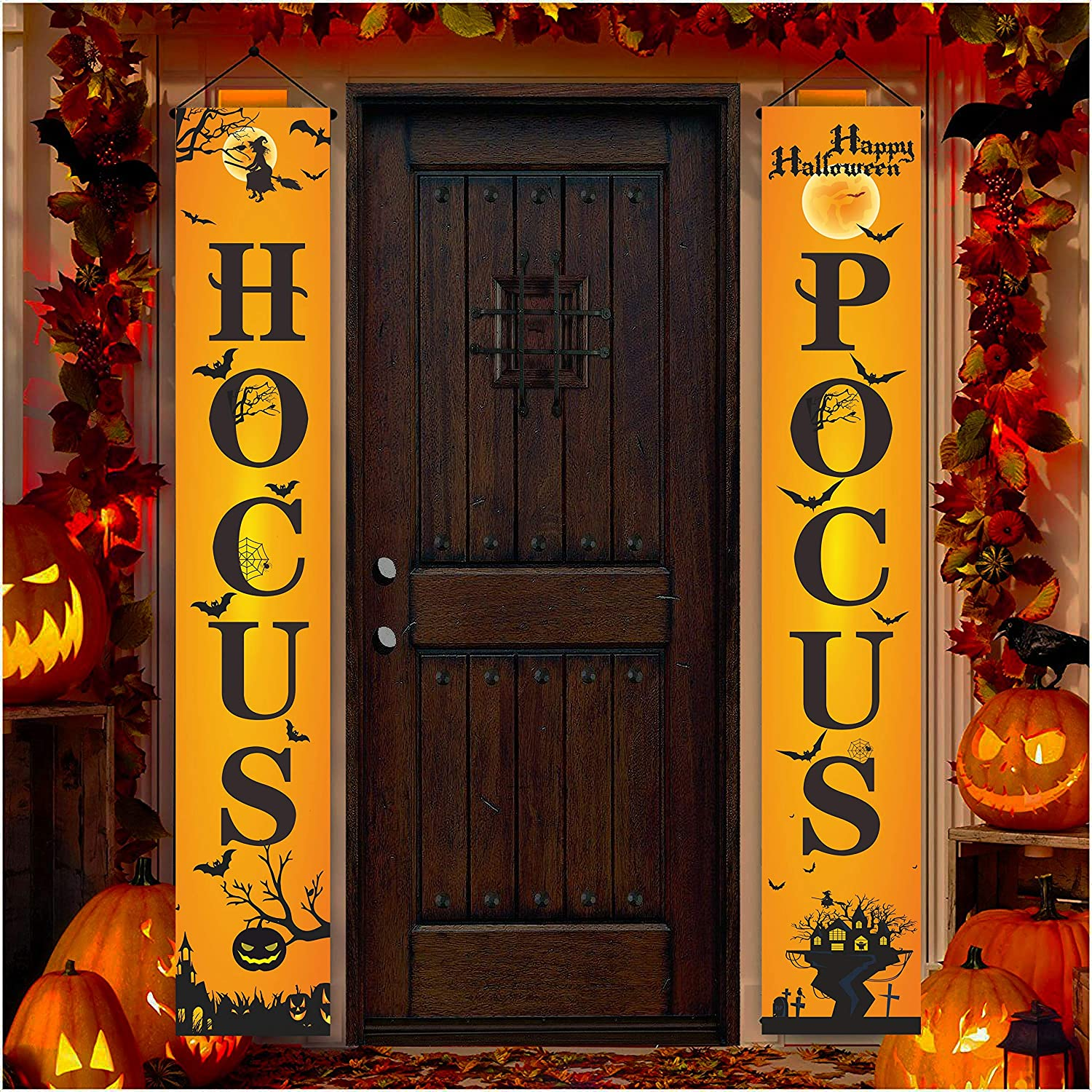 Buildinest Hocus Pocus Banners Porch Signs - Halloween Decorations, Witch Decor for Home Front Door Outside Yard Garden Party – 1 Set (HSPS)