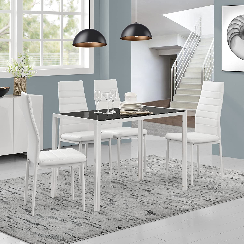 [en.casa] modern dining table living dining room glass plate table 105x60x75 cm black Black/White