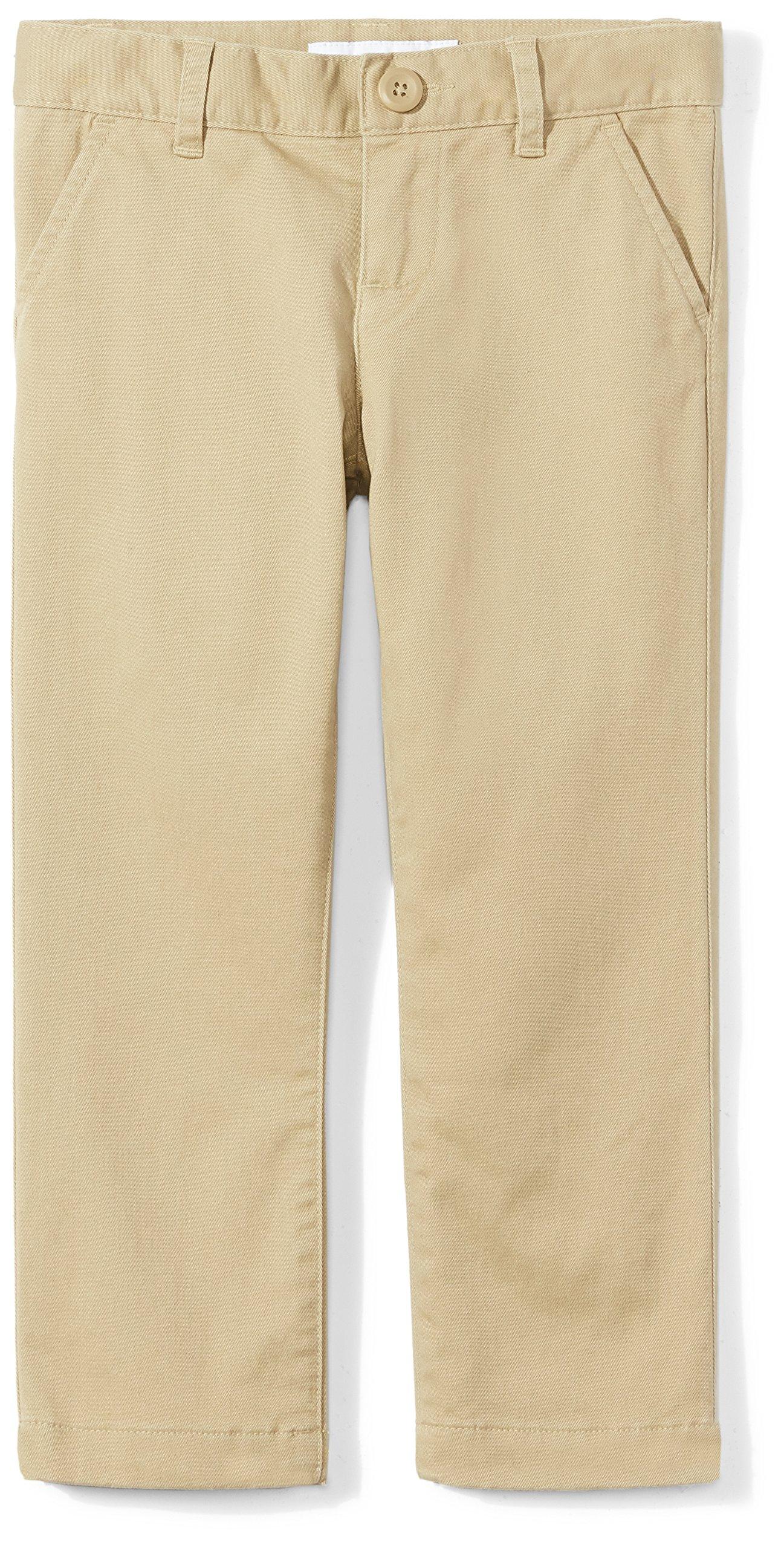 Amazon Essentials Girls' Flat Front Uniform Chino Pant, Khaki,6
