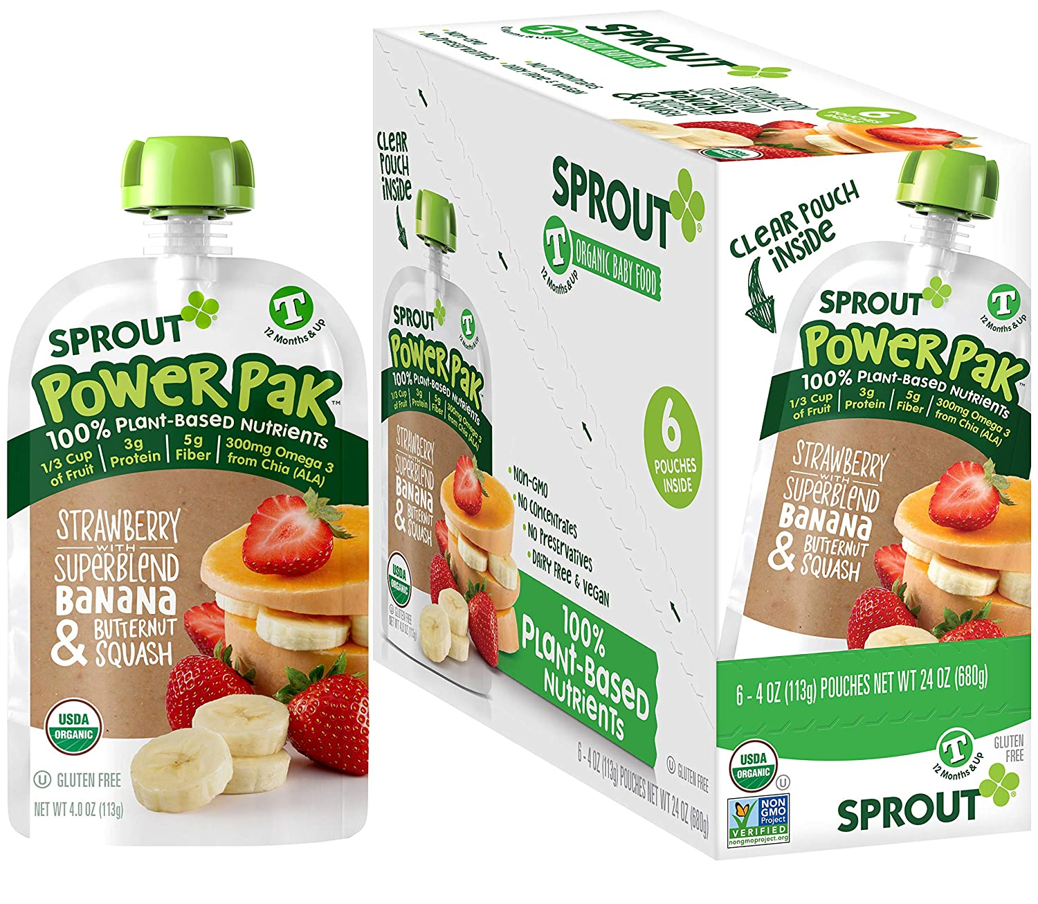 Sprout Organic Baby Food, Stage 4 Toddler Pouches, Strawberry Banana & Butternut Squash Power Pak, 4 Oz Purees (Pack of 12)