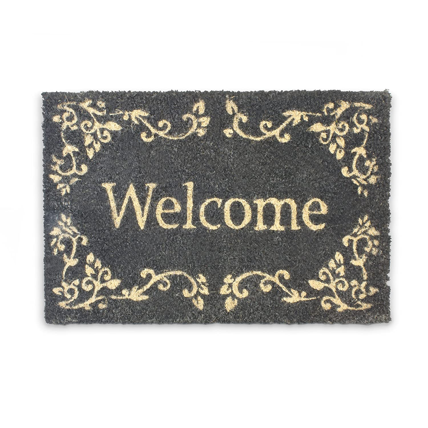 Relaxdays Coconut Fibre WELCOME Doormat 40 x 60 cm Coir Welcome Mat with No-Slip Rubber PVC Underside, Black 10016789