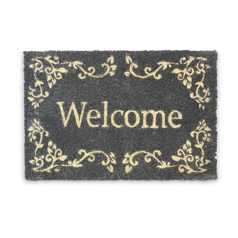 Relaxdays 10016789 Paillasson en Fibres de Coco tapis de sol Porte d'entrée Accueil Welcome 40 x 60 cm dessous antidérapant caoutchouc PVC essuie-pieds natte plancher motifs ornements, noir