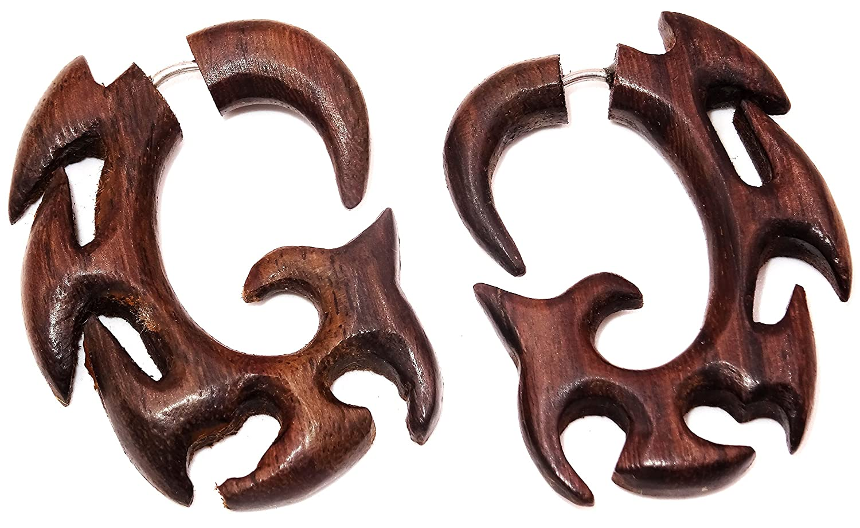 Falso Dilatador Pendientes Piercing madera par marrón hombre mujer mixta étnica Gauge Expander Wood Wooden Fake espiral: Amazon.es: Joyería