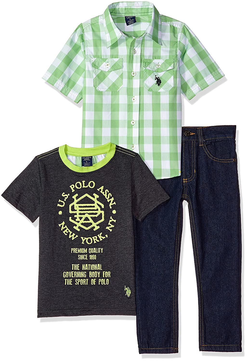 U.S. Polo Assn. Boys' Short Sleeve, T-Shirt and Pant Set SU00