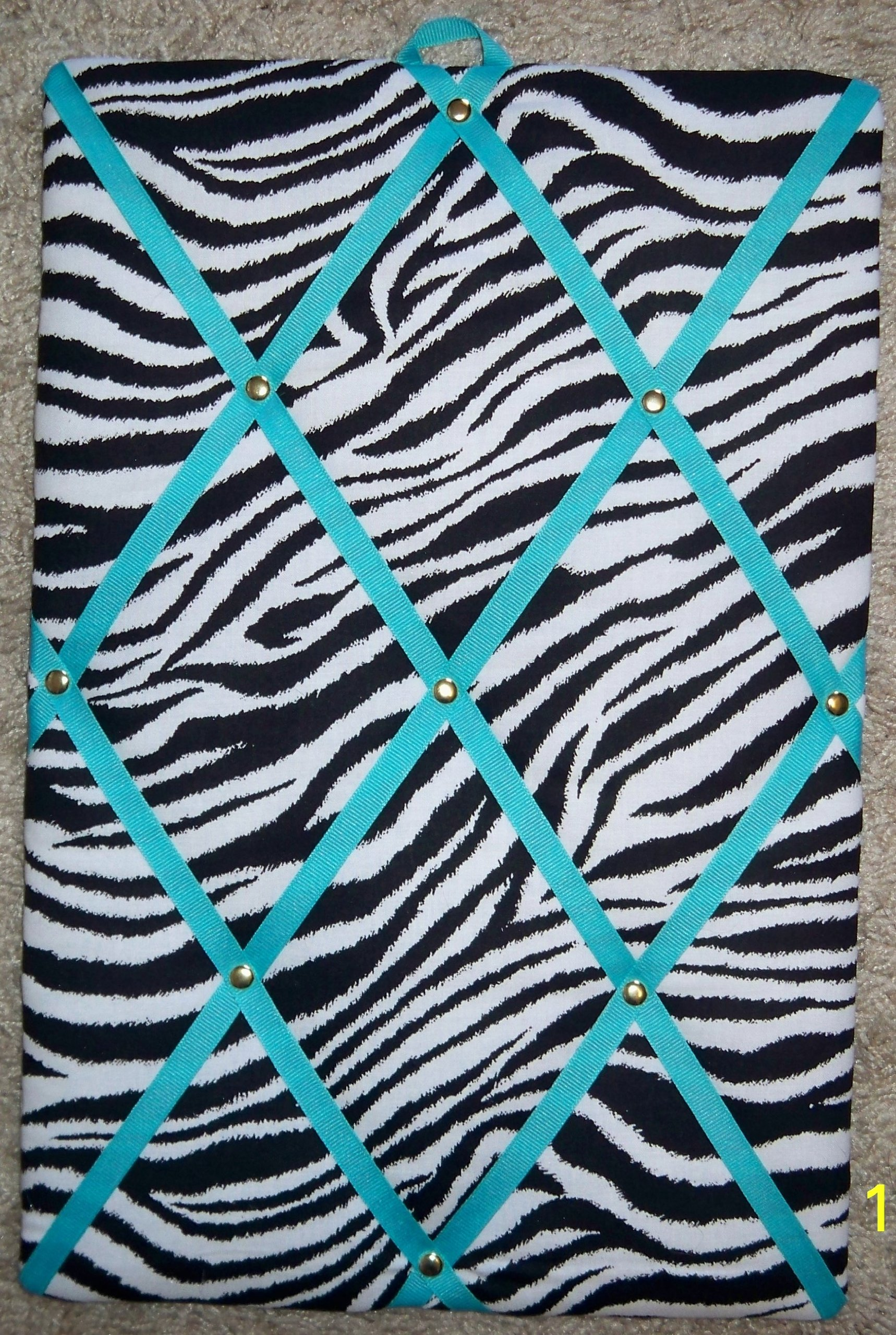 Zebra with Turquoise French / Memo Board (10'' x 15'') by toycatz creations
