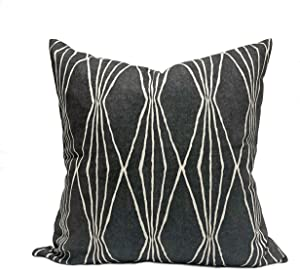 DKISEE Robert Allen Home Handcut Shapes Charcoal Fabric Throw Pillow Cover, Ivory and Charcoal Geometric Print Pillowcase 18x18 inches