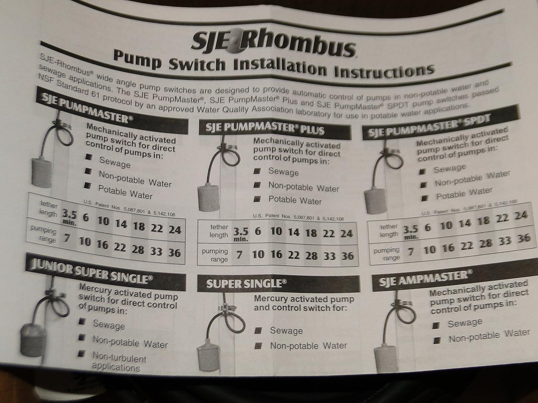 Float Switch Pumpmaster Pump Sje Rhombus Liberty Wiring Down 20pmd1wp 20ft 120 V W Plug Home Improvement